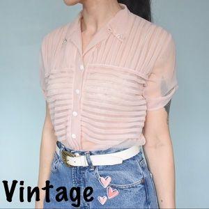Vintage Sheer Pleated Blouse *RARE*
